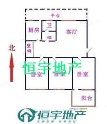 前進花園:北辛學區房,三室兩廳簡單裝修送儲藏室和大平臺