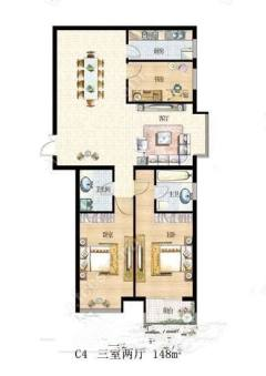 (市中心)九州清晏3室2厅2卫149m²毛坯房车储另算