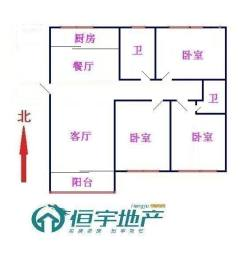 (城北)通盛上海花园3室2厅2卫小高层东户,南北通透,证齐全
