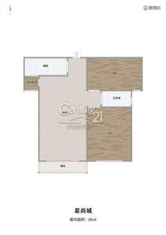 (城北)三盛星尚城2室2厅1卫87m²毛坯房